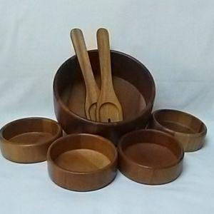 Wooden Salad Serving bowls 7-pc. set